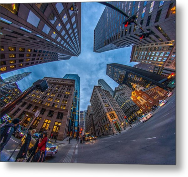 State Street Look Up Boston Ma Metal Print