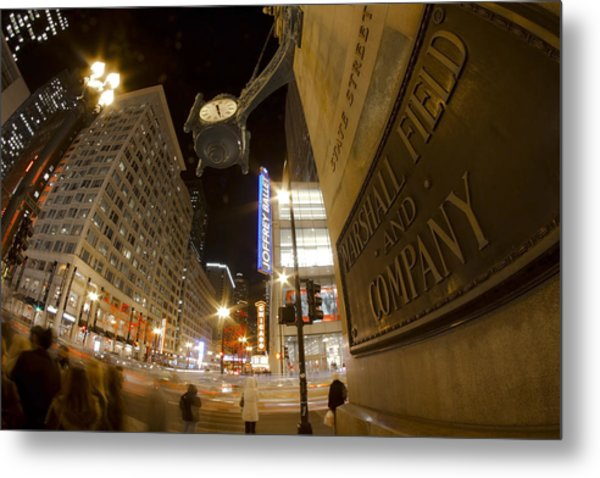 State Street Night Scene Metal Print