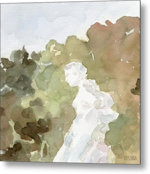 Statue Of A Woman Watercolor Paintings Of France Metal Print