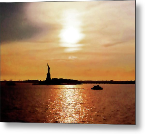 Statue Of Liberty At Sunset Metal Print