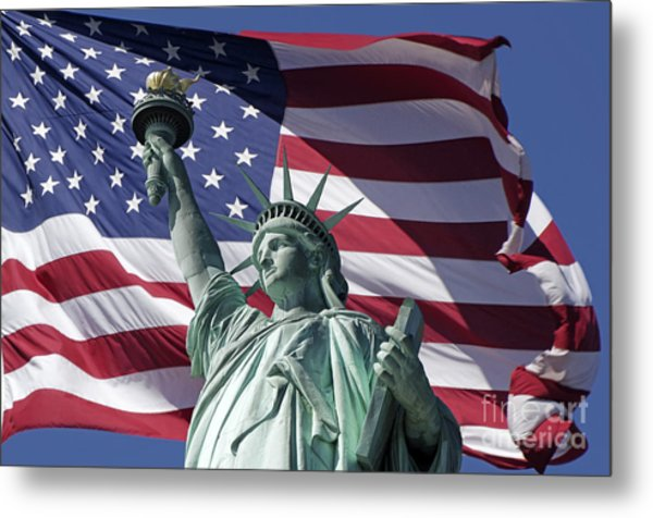 Metal Print featuring the photograph Statue Of Liberty New York  by Juergen Held