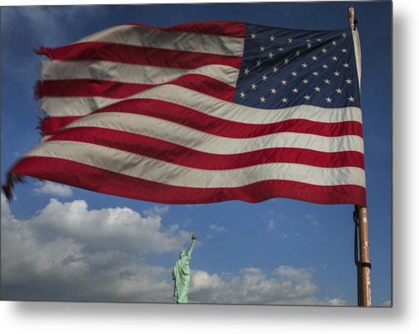 Statue Of Liberty Under The Flag Metal Print