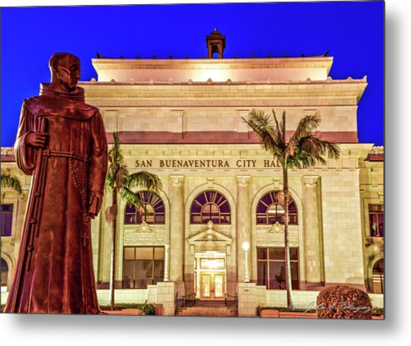 Statue Of Saint Junipero Serra In Front Of San Buenaventura City Hall Metal Print