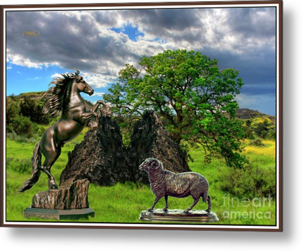 Statues In The Park Metal Print by Pemaro