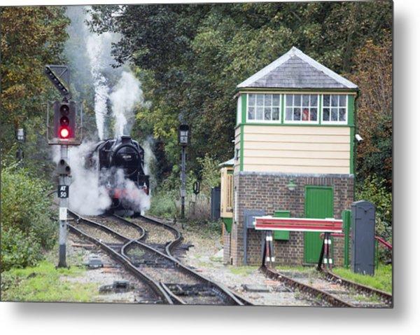 Steam Engine Approaching Alton Metal Print
