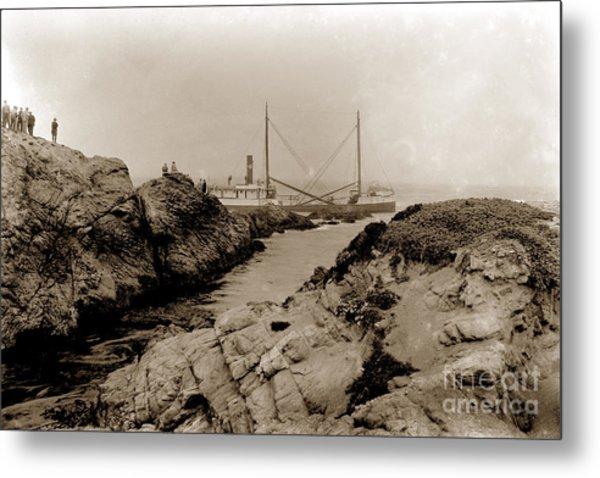 Steam Schooner S S J. B. Stetson, Ran Aground At Cypress Point, Sep. 1934 Metal Print