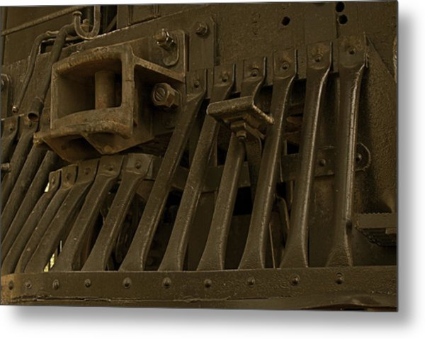 Steam Train Cow-pusher Metal Print