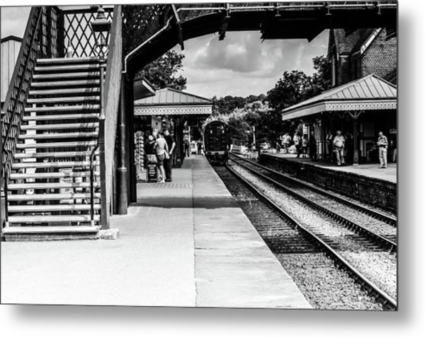 Steam Train In The Station Metal Print