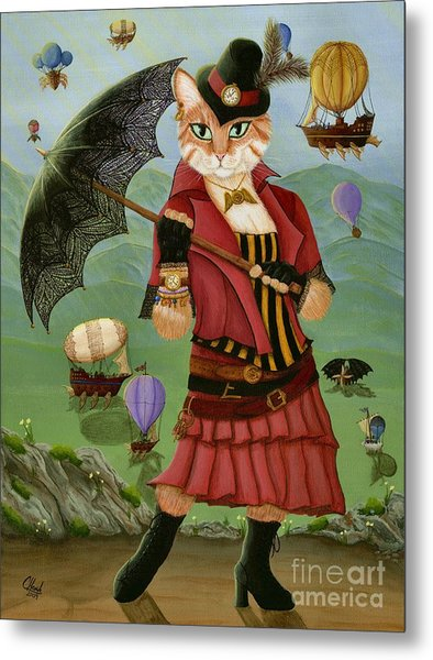 Steampunk Cat Gal - Victorian Cat Metal Print