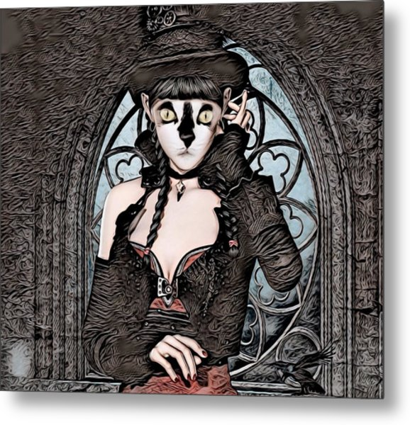 Steampunk Kitty By Artful Oasis Metal Print