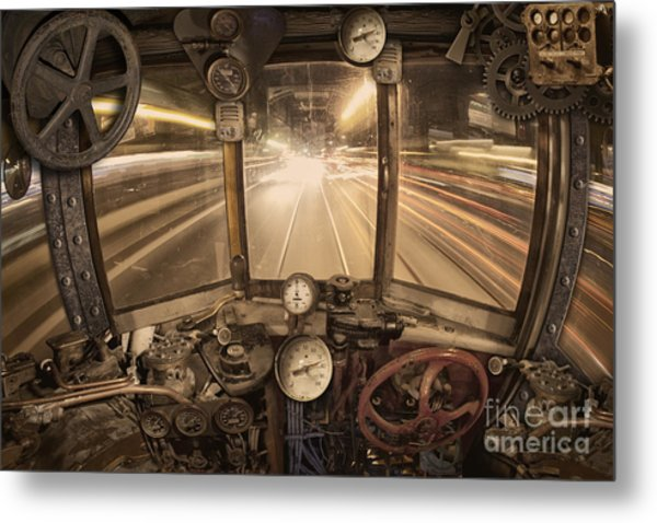 Steampunk Time Machine Metal Print
