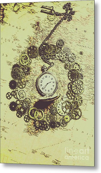 Steampunk Travel Map Metal Print