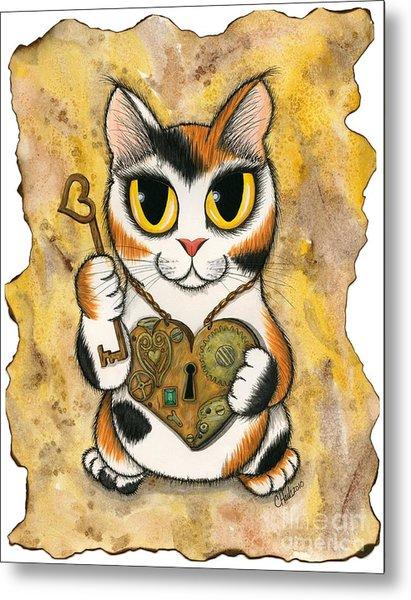Steampunk Valentine Cat Metal Print