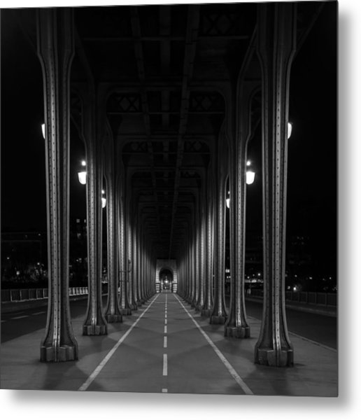 Metal Print featuring the photograph Steel Colonnades In The Night by Denis Rouleau
