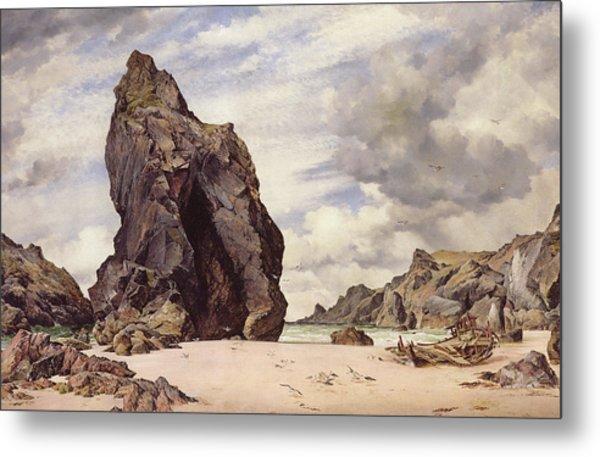 Steeple Rock, Kynance Cove, Lizard, Cornwall, Low Water, 1873 Metal Print
