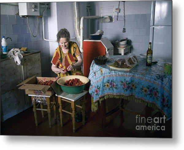 Stefania Cleans Strawberries In Chortkiw Ukraine Metal Print by Yuri Lev
