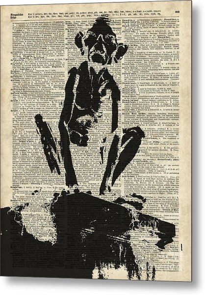Stencil Of Gollum,smeagol Over Old Dictionary Page Metal Print