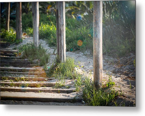 Steps Off The Beach Metal Print