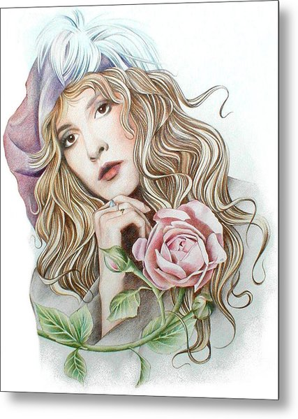 Stevie With Rose Metal Print