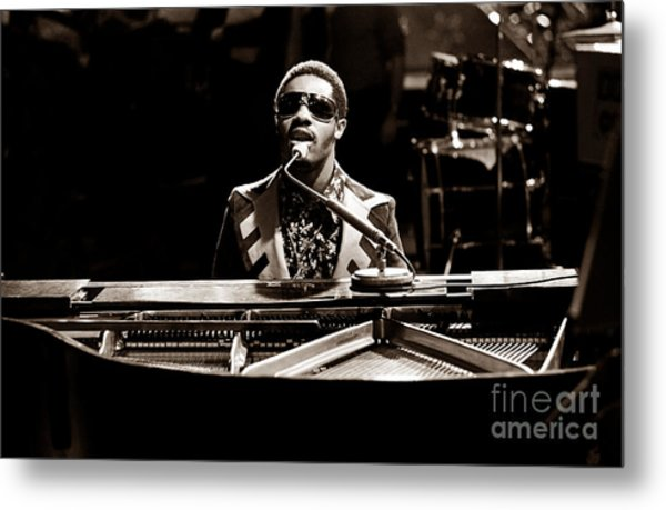 Stevie Wonder Softer Gentle Mood - Sepia Metal Print by Chris Walter