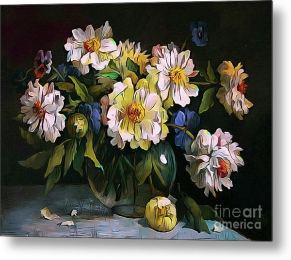 Still Life 04 ...23.13 Bouquet Of White Peonies Metal Print