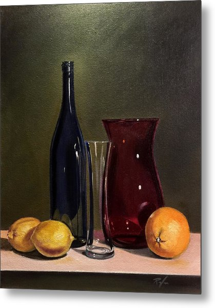 Still Life With Bottle, Vases And Fruit Metal Print