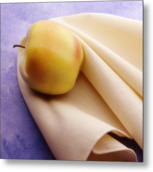 123 - Still Life - Apple And Napkin Metal Print by Eric  Copeman