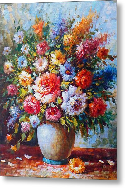 Still Life Colourful Flowers In Bloom Metal Print