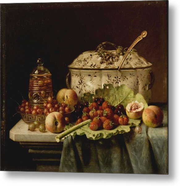 Still Life  Fruit And Dishes  Late 19th Century Oil On Panel Gottfried Schultz  German  1842  1919 Metal Print