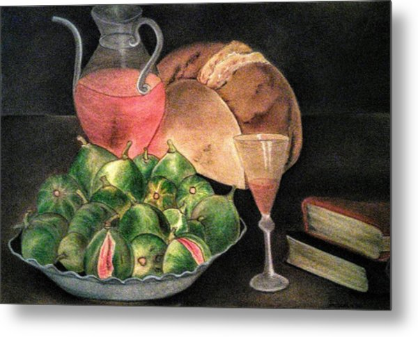 Still Life Of Figs, Wine, Bread And Books Metal Print