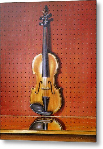 Still Life Of Violin Metal Print by RB McGrath