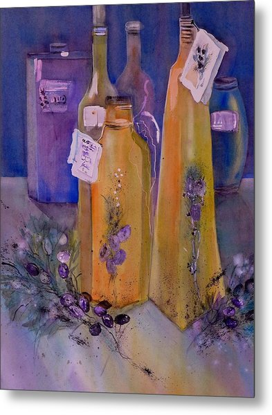 Still Life Olive Oil And Olive Twigs Metal Print