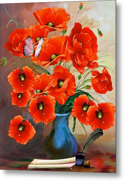 Still Life Poppies Metal Print
