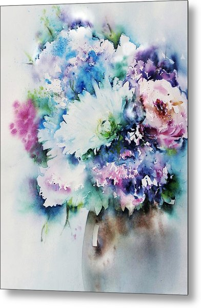 Still Life Rose Bouquet Watercolour Metal Print