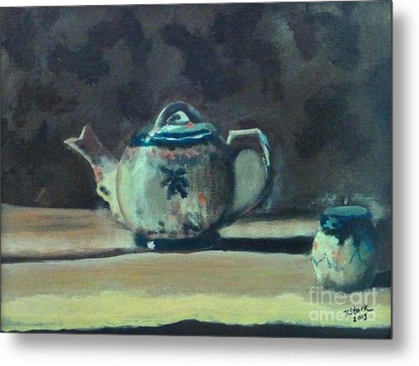 Still Life Teapot And Sugar Bowl Metal Print