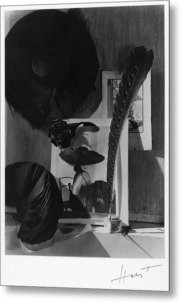 Still Life With A Portrait Of Marquise De Metal Print