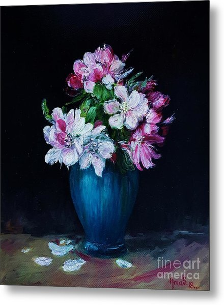 Still Life With Apple Tree Flowers In A Blue Vase Metal Print