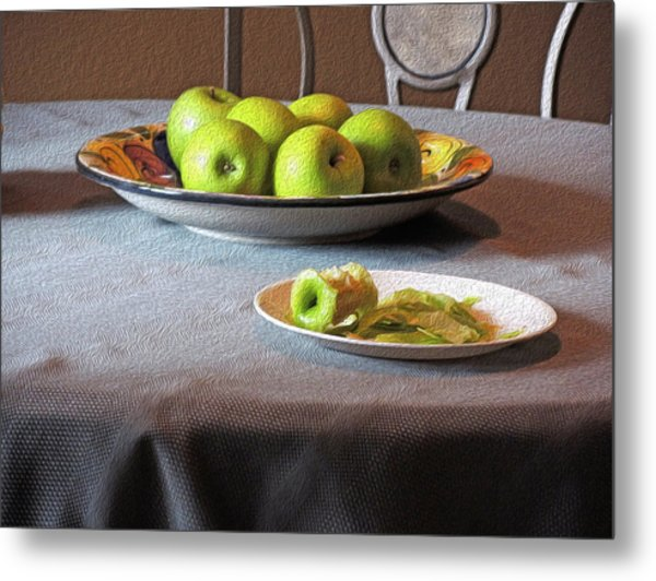 Still Life With Apples And Chair Metal Print