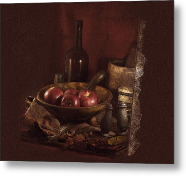 Still Life With Apples, Bottles, Baskets And Shakers. Metal Print