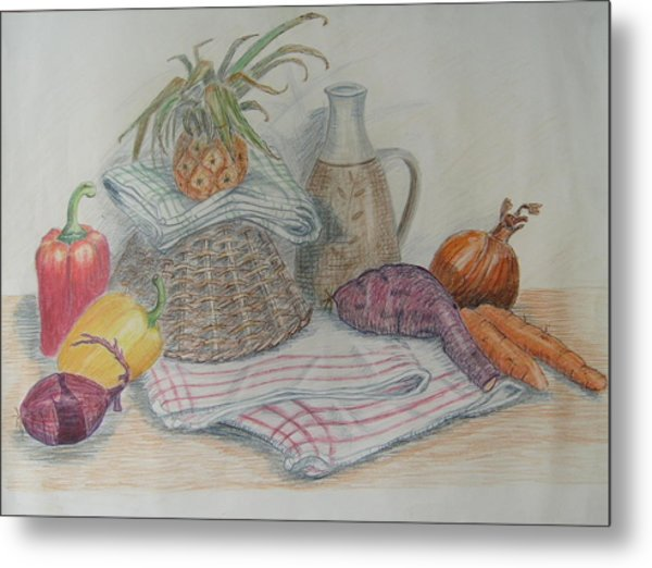 Still Life With Baby Pineapple Metal Print by Geraldine Leahy