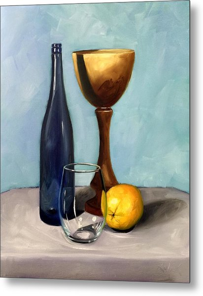 Still Life With Blue Bottle Metal Print