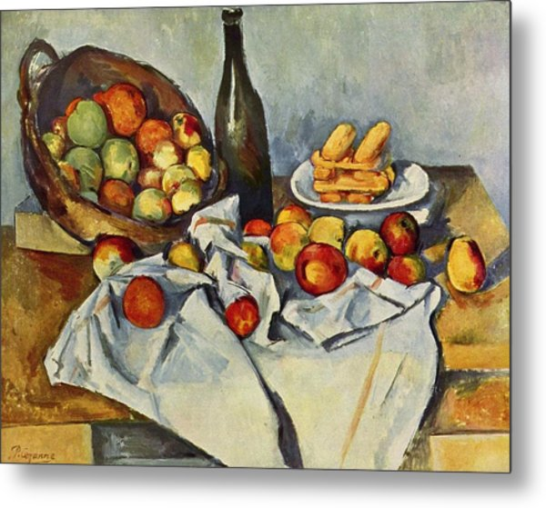 Still Life With Bottle And Apple Basket Metal Print