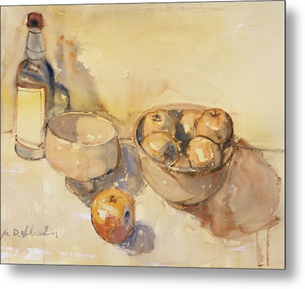 Still Life With Bottle And Apples Metal Print
