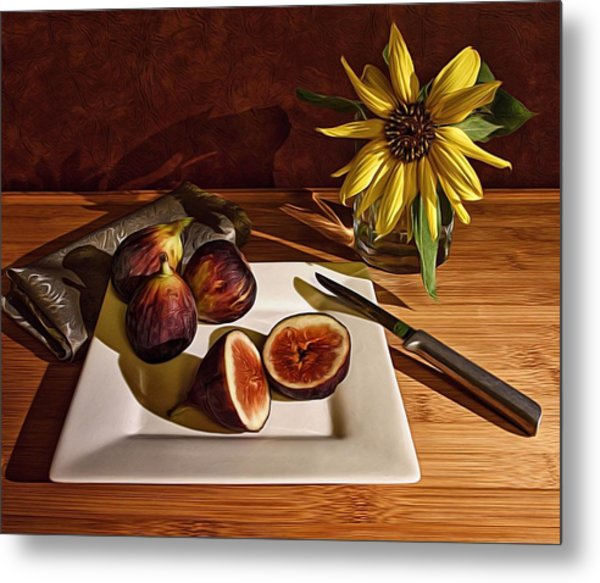 Still Life With Flower And Figs Metal Print