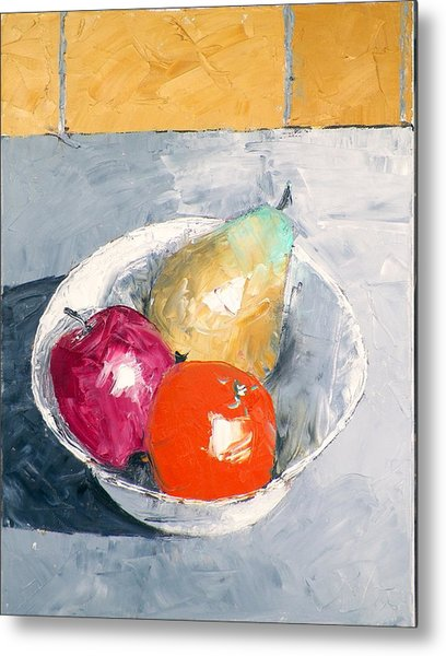 Still Life With Fruit In Bowl Metal Print
