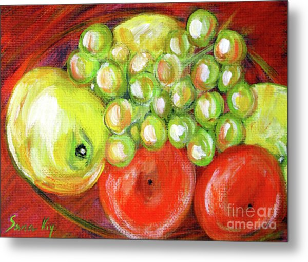 Still Life With Fruit. Painting Metal Print