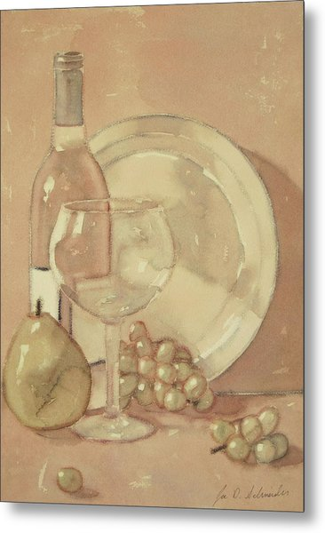 Still Life With Glass And Plate  Metal Print