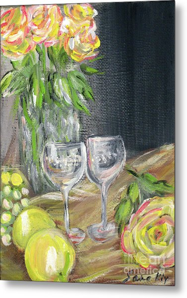 Still Life With Lemons, Roses  And Grapes. Painting Metal Print