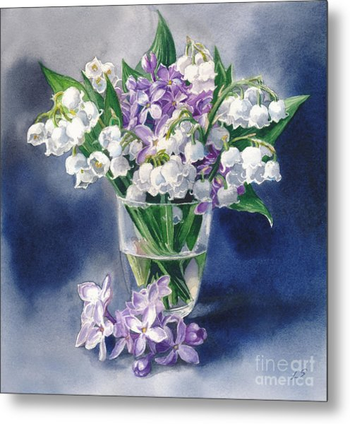 Still Life With Lilacs And Lilies Of The Valley Metal Print