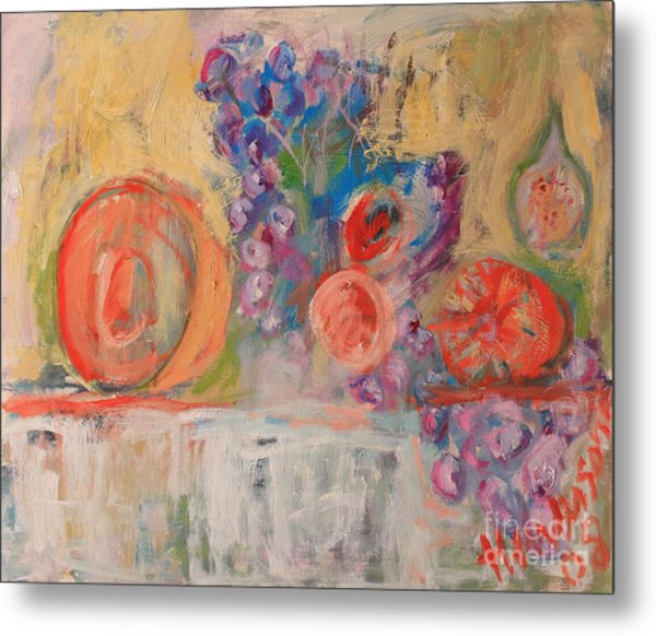 Still Life With Melon And Fig Metal Print by Michael Henderson